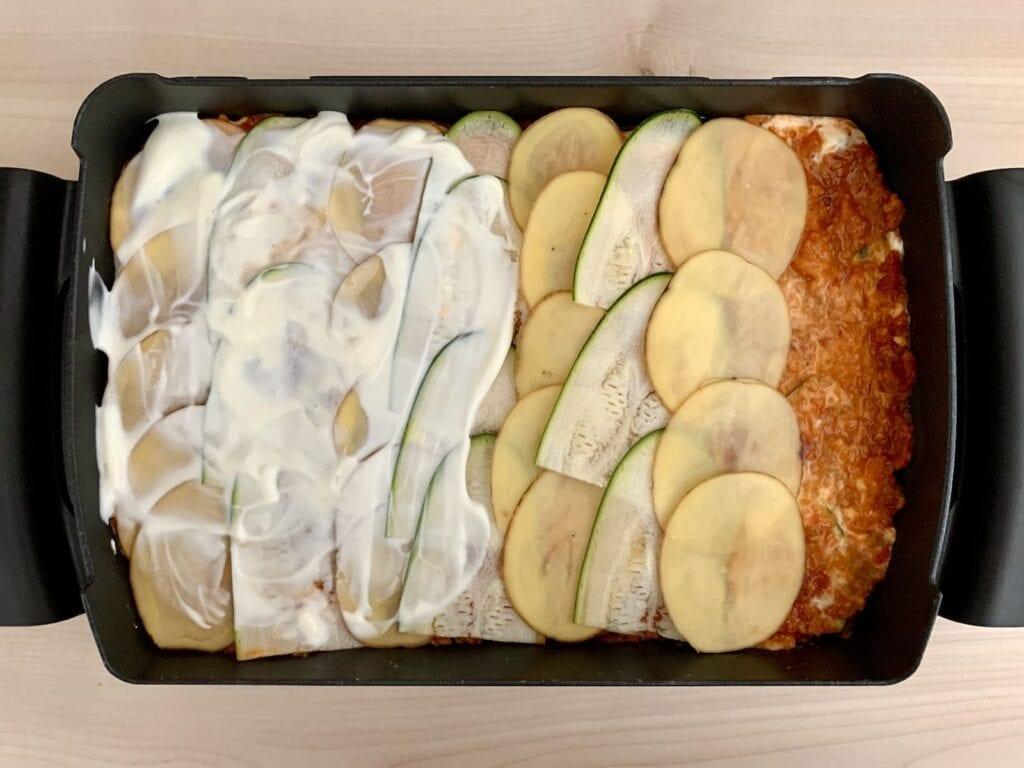 Kartoffel Zucchini Lasagne Backschale zubereiten