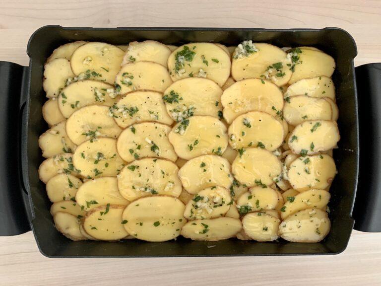 Knoblauchbutter Kartoffeln OptiGrill Backschale
