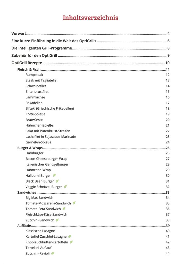 OptiGrill Kochbuch Inhaltsverzeichnis 1