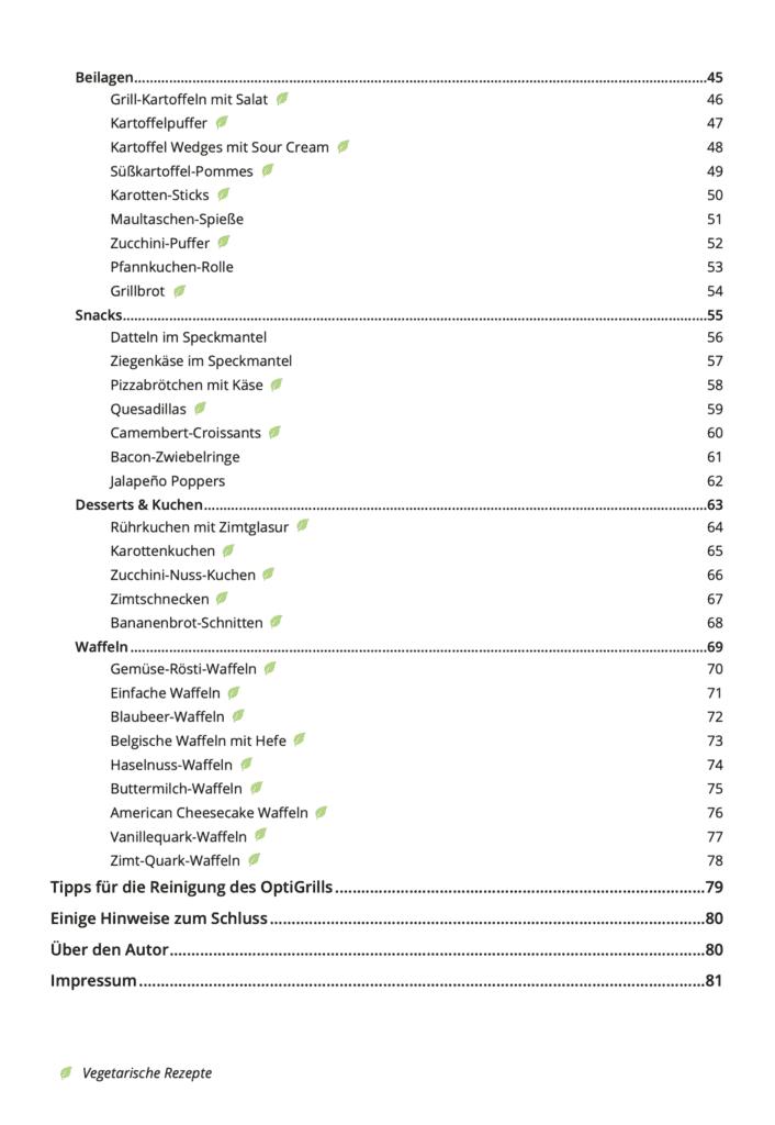 OptiGrill Kochbuch Inhaltsverzeichnis 2
