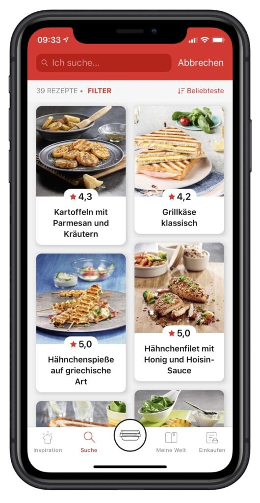 Tefal OptiGrill App Rezepte suchen